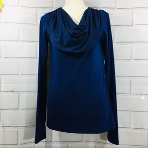 Mountain Hardware Cowl Neck Long Sleeve Blue Top M